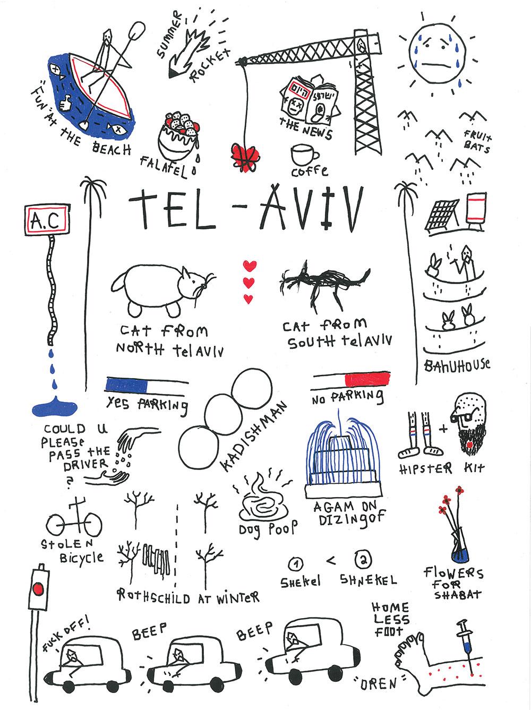 הגרסה המאוירת של פישר למפת תל אביב