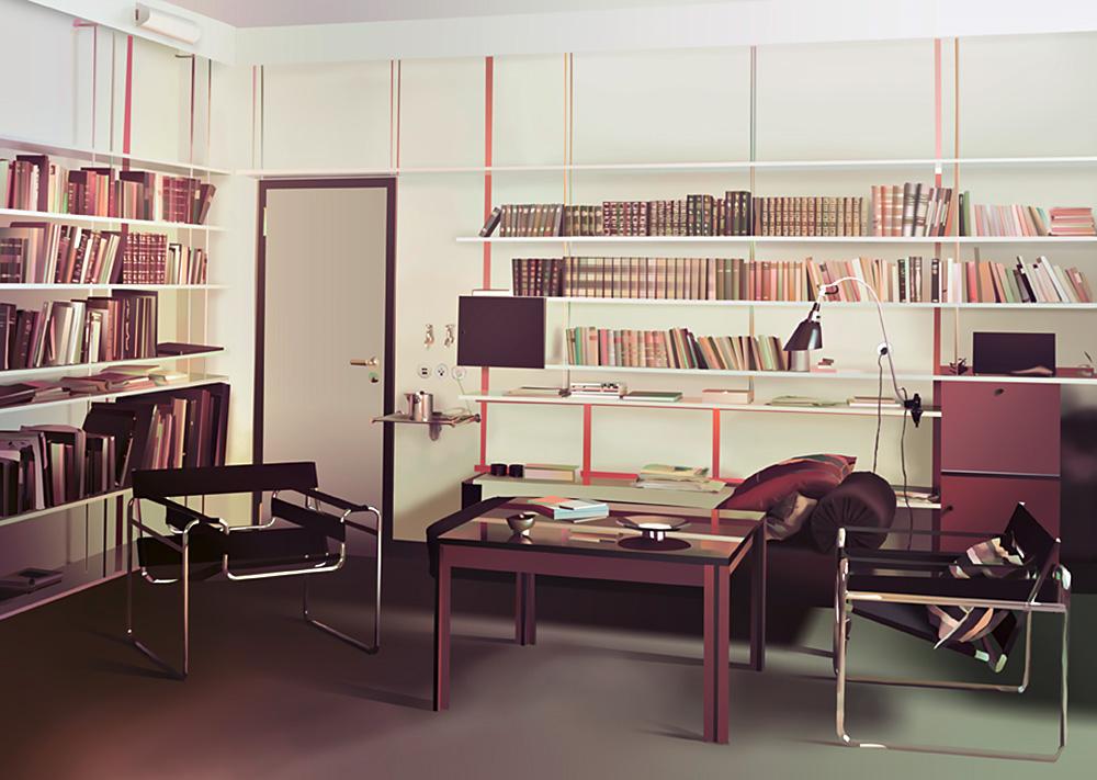 אדריאן זאואר, מגורי מנהל הבאוהאוס ולטר גרופיוס, 2015, עיבוד דיגיטלי של תצלום צבע (אגפא) מ-1926 או 1927 מארכיון באוהאוס, ברלין