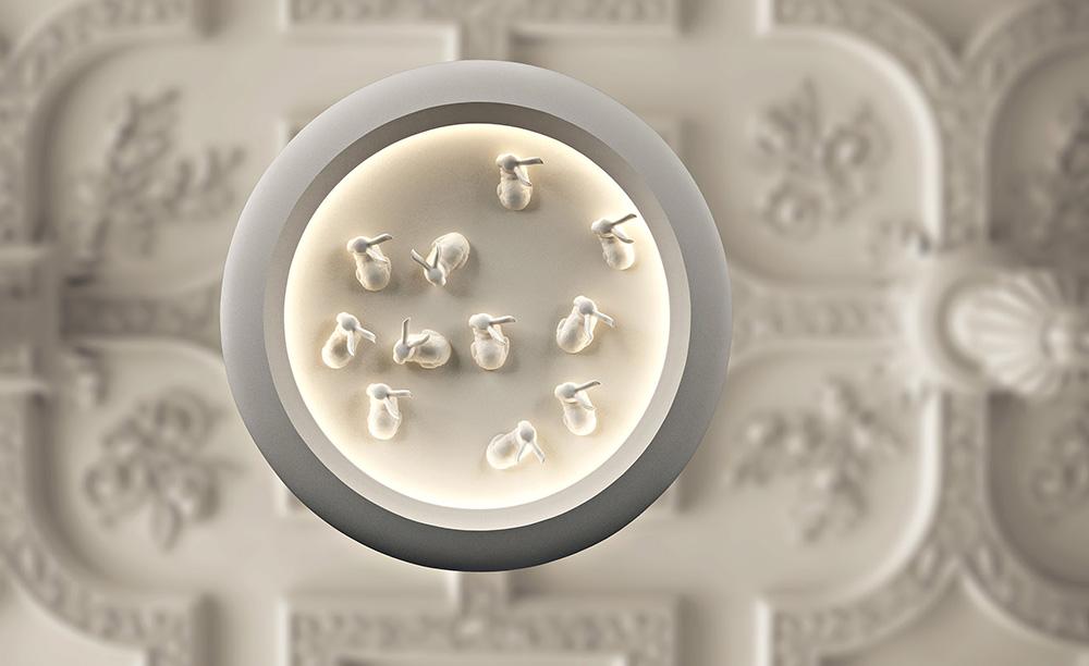 ויטריוס אפור, גוף תאורה קרמי, סטודיו קאהן