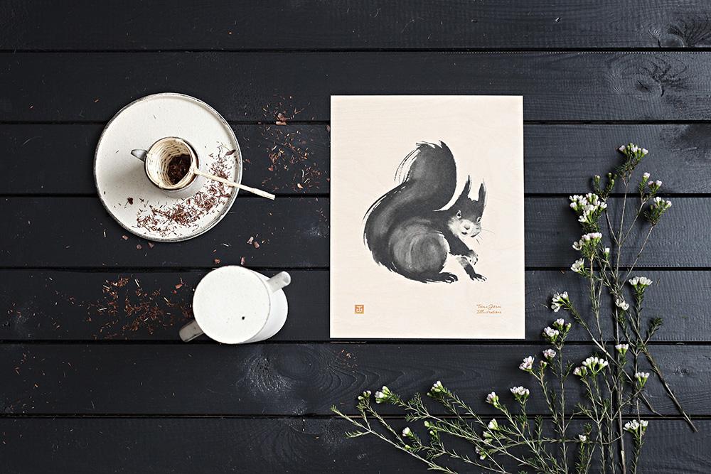 הדפס סנאי על לביד לבנה