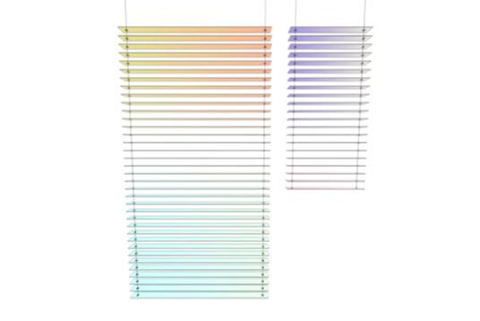 תמונת צבע מורכבת שבבסיסה שני צבעים. הדמיה של תריסי ספקטרה